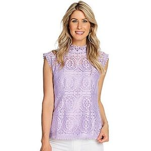 Mark Bouwer retro lace blouse top lilac 1X